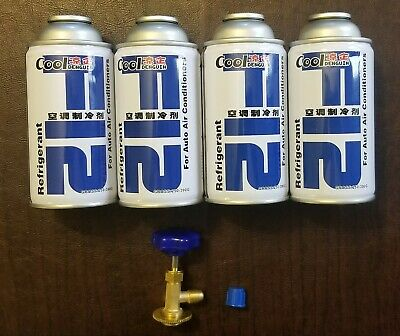 R12 Refrigerant R-12  4 Cans-48oz total Threaded Can Tap Included! Genuine Pure!