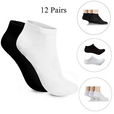 Black White Trainer Socks 12 Pack Ankle socks Footwear Mens Women 100% cotton