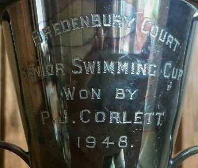 1948 Bredenbury Court Hereford Vintage swimming silver plate trophy, loving cup