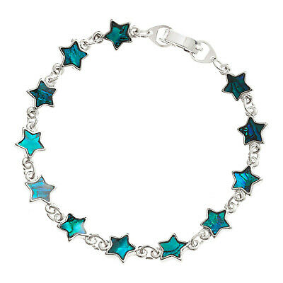 "Blue Star Bracelet Paua Abalone Shell Womens Silver Fashion Jewellery 7.5"" 19cm"