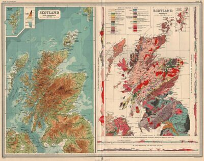 SCOTLAND. Geological with sections. Relief. Geology. LARGE 1912 old map
