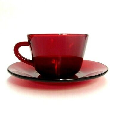 Vintage Ruby Red Glass Tea Cup & Saucer Set Replacement Retro Cranberry 2 Pieces