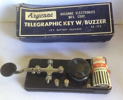 Vintage Argonne Telegraphic Key with Buzzer AR-323  Box &  Battery Morse Code