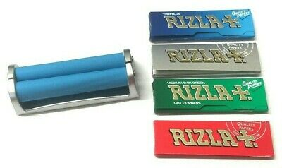 CIGARETTE REGULAR ROLLING 70mm MACHINE 10 x RIZLA GREEN RED BLUE SILVER PAPERS