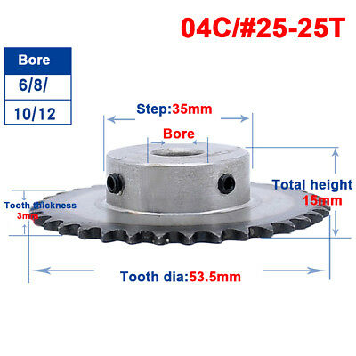 """#25 Chain Drive Sprocket 1/4"""" 25T Bore 6/8/10/12mm Pitch 1/4"""" For #25 04C Chain"""