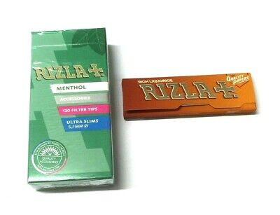 4 x RIZLA MENTHOL ULTRA SLIM CIGARETTE FILTER TIPS with LIQUORICE ROLLING PAPERS