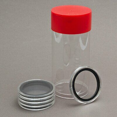 (1) Airtite Coin Holder Storage Container & (5) Black Ring 39mm Air-tite Coin