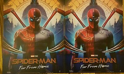 2 x SPIDERMAN Poster Far From Home Suits - Official Odeon Movie Glossy Approx A4