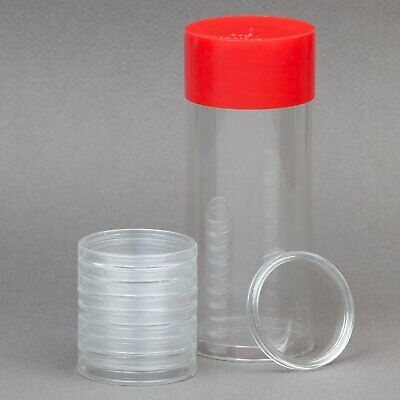 Red Capsule Tube & 10 Air-Tite A16 Direct Fit Coin Capsules for 1/10oz Gold