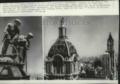 1967 Press Photo Wreckers' scaffolding for demolition of the Singer Building-NYC