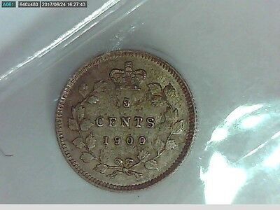 1900 Canadian Silver Nickel (five cent) Coin Oval 0, SD (ICCS AU 50)