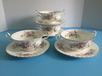 Royal Albert - Moss Rose - Cream Soup & Stand - Made In England - 4 Available -