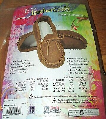 Tandy Leathercraft Kit Suede Leather Moccasin Adult Size 8/9 NEW No Tools Needed