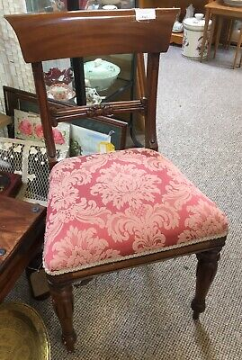 Antique Victorian Mahogany Padded Seat Hall Or Bedroom Chair