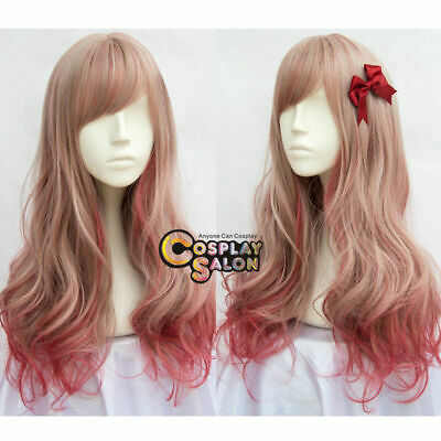 60CM Lolita Long Wavy Mixed Red Synthetic Party Wig+Cap Cosplay Heat Resistant
