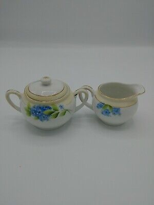 Noritake China  - Creamer and Sugar Bowl w/Lid Blue Flowers No chips or cracks