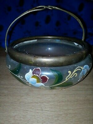 ABSOLUTELY STUNNING BOHEMIAN VINTAGE ART GLASS BOWL HAND PAINTED, 6.5inch across
