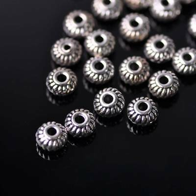 100pcs 6mm Rondelle Gear Shape Tibetan Silver Metal Loose Spacer Beads
