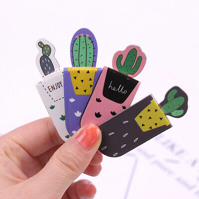3PCS /Set Fresh Cute Cactus Magnetic Bookmarks Books Marker of Page Student