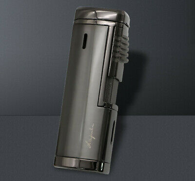 Gray Metal Cigar Cigarette Lighter 4 Torch Jet Flame With Punch For COHIBA
