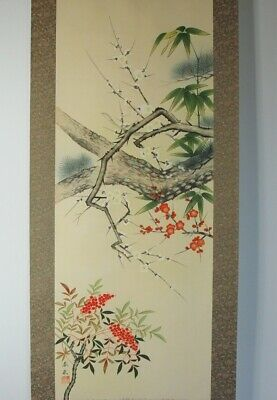 "JAPANESE HANGING SCROLL HEAVENLY BAMBOO UME by SHUNJU OZAKI 73.2"" HAND-PAINTED"