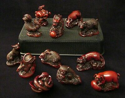 12 PIECE CARVED CHINESE ZODIAC SET, Feng Shui / Made from Red Lacquer