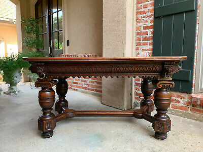 Large Antique French Carved Oak Library Table Desk Renaissance Hall Sofa Kitchen