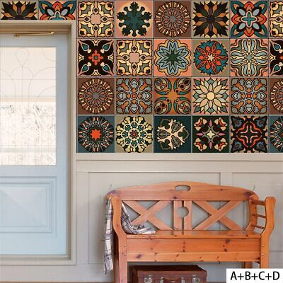 Wall Mosaic Tile Adhesive Self Stickers Bathroom Kitchen Waterproof Decal Decors