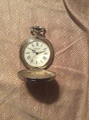 e5c015b24 TRAIN POCKET WATCH UNITRON - 3-D SILVERTONE - Fully working,in perfect  condition