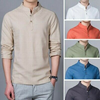 Men Cotton Linen Stand Collar Slim Pullover Solid Long Sleeve Leisure Shirts Top