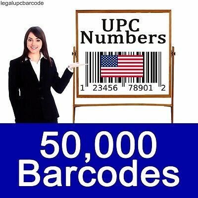 50000 UPC EAN Numbers Barcodes Bar Code Amazon GS1 ECommerce US UK EU CA IN TR