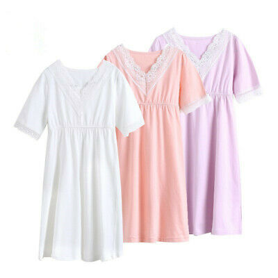 Girls/Kids Nightdress Pyjamas Cotton V Neck Lace Short Sleeve Nightwear Age 2-11