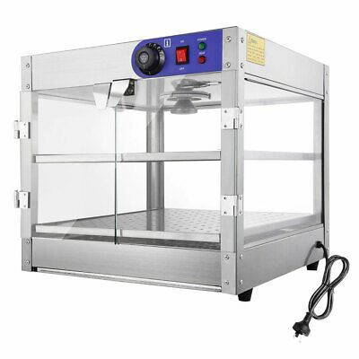 2 Tier Commercial Food Warmer Display Showcase Cabinet Soup Case Stainless Steel