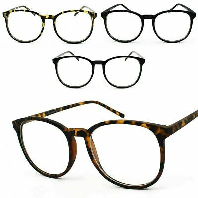 Tall Round Oversize Clear Lens Geek Nerd Glasses Unisex 80s Retro Style Frame