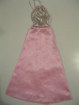 Barbie Clothes Dress Gown - Pink With Glitter Halter Neck (Doll Not Included)
