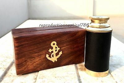 Handmade Nautical Shiny Brass Black Leather Spyglass Telescope With Wooden Box