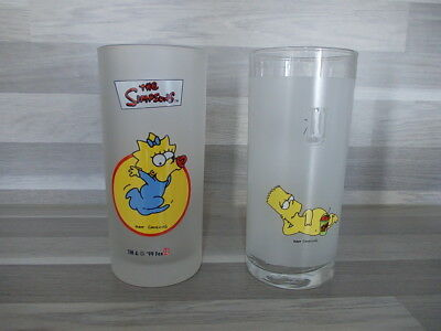 2 Vintage highball glass The Simpsons Mat Groening by LU 2002 & 1999