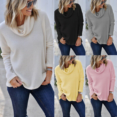 Womens Plain Cowl Neck Pullover Long Sleeve Casual Loose Warm Jumper Top Sweater