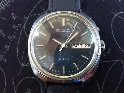 Vintage Rare Old Made In USSR Slava Cal.2428 26 Jewels Men's Russian Wristwatch