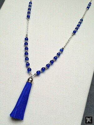 Royal Blue & Silver Long Crackle Beaded Tassel Necklace 30'' Chain