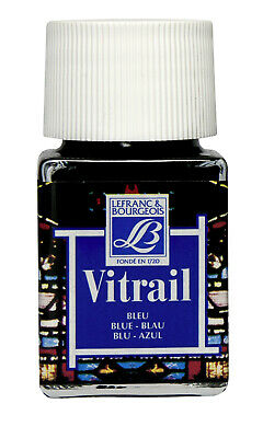 Lefranc & Bourgeois Vitrail Transparent Paint for Stained Glass BLUE 4 x 50ml