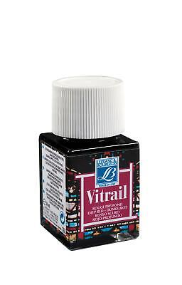 Lefranc Bourgeois Vitrail Transparent Paint for Stained Glass DEEP RED 4 x 50ml