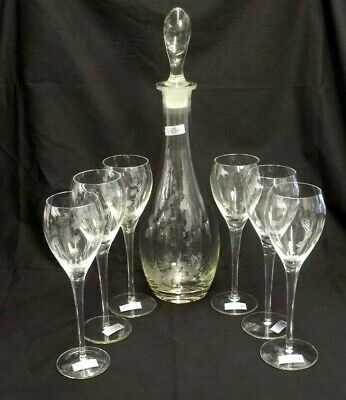 New Hand Blown Toscany Wine Set 6 Glasses & Decanter W/Stopper Made In Romania