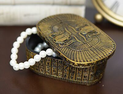 "Ebros Golden Ancient Egyptian Dual Cobra Winged Scarab Beetles Jewelry Box 5"" L"