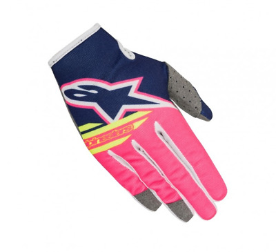 Alpinestars Radar Flight Motocross Gloves Blue Flo Pink White Youth Medium YMed