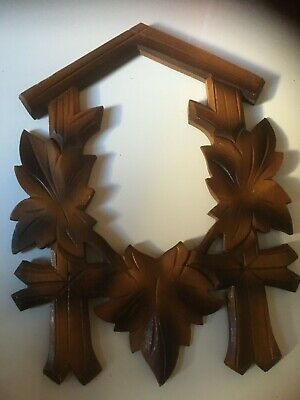 Cuckoo Clock PARTS / SOLID WOODEN CARVED FRONT FROM A OLD CUCKOO CLOCK