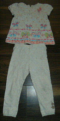 M & Co Baby Girls Two Peice Set Outfit Trousers Long Sleeve Top Size 9-12 Months