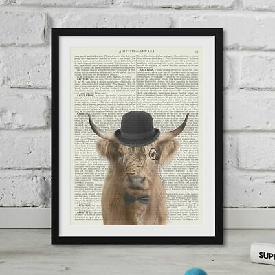 Highland Stag Art Print on Vintage Dictionary Page ORIGINAL Wall Art NO.530B