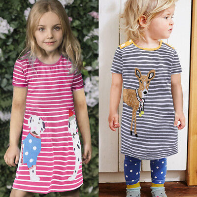 Baby Kids Girls Princess Dresses Striped Short Sleeve Shirt Outfits Clothes NEW