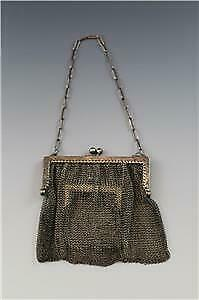 Antique C1910 Sterling Silver Chain Mail Mesh Ladies Purse w/ Interior Pocket